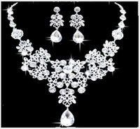 Wholesale Wedding Jewelry Sets For Cheap - New Wedding Jewelry Sets Shiny Rhinestone Teardrop Bridal Jewelery Accessories Crystals Necklace and Earrings for Prom Party Cheap 4colors