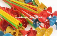 Wholesale Wholesale Plastics Cups Party - Creative Plastic Balloon Holder Sticks Multicolor Cup Wedding Party Decoration 500sets lot