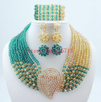 Wholesale Cheap Costume Jewelry Pearls - Cheap Costume Jewelry 18K Gold Plated Fashion Nigerian Wedding African Beads Jewelry Set Crystal Choker Statement Necklace Sets SY804-5