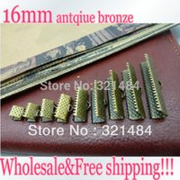Wholesale Antique Brass End Caps - 2000pcs 16mm Antique bronze brass Ribbon Cord end cap tips crimp beads Flaster Clasp Connectors jewelry DIY findings accessories