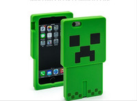 Wholesale Iphone5 Silicone Cartoon Covers - Minecraft Creeper Character Case 3D Cartoon creeper Silicone Case cover for iphone5 5s iphone6 6 plus Samsun S5 iPad Mini mini 2