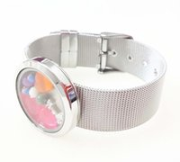 Wholesale Plain Circle Charm - 30mm Stainless Steel Silver Plain Round Floating Locket Bracelet with mesh band