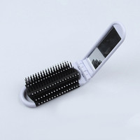 Wholesale Black Compact Mirrors - White Blue Black Portable Plastic Travel Folding Hair Brush With Mirror Compact Pocket Size Comb