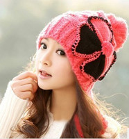 Wholesale Nice Hats For Men - Wholesale-Factory Price Nice Flower Hats For Women Winter Ball Knitted Headwear 6 Colors For Select
