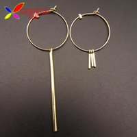 Wholesale mix match earrings - Wholesale- Simplicity Earrings Fashion Design Mix-matched Golden Silver Sticks Big Open Circle Hoop Earring For Women Joyas Pendiente