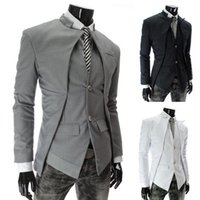 Wholesale Mens Grey Skinny Suit - 2015 New Brand British Style Slim Men Suits Mens Stylish Design Blazer Casual Business Fashion Jacket Black Grey White free shipping