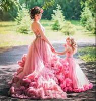 Wholesale Big Girls Evening Dresses - Cloud Ruffles Tiered Flower Girl Dress For Weddings Vintage Pink Big Train Princess Dress Mother Daugher 1st Birthday Evening Gowns