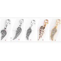 Wholesale Key Chain Lockets Jewelry - charm Angel wings dangle charm fit floating locket,earring,ring,bracelet,key chain or necklace jewelry accessories,best gifts