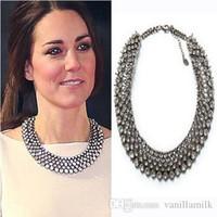 Wholesale Kate Middleton Jewelry - 2016 New Kate Middleton necklace necklaces & pendants fashion luxury choker design crystal pendant necklace statement jewelry