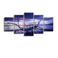 Wholesale Lake Wall Art - 5 pieces high-definition print Sunse Water Lake canvas oil painting poster and wall art living room picture PL5-168