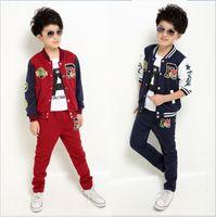 Wholesale Childrens Sportswear - Big Boys Autumn Sportswear 2pcs Sets Outfits 2015 Childrens Baseball Clothes Tracksuit Letter Badge Jacket+Pants Kids Boy Casual Sport Suits