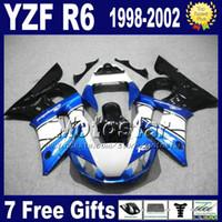 Wholesale Black 99 R6 Fairing Kit - Free shipping fairings set for YAMAHA YZF-R6 1998-2002 YZF 600 YZFR6 98 99 00 01 02 black blue white fairing body kits VB76 + 7 gifts