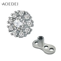 Compra I Monili Del Corpo Di Zirconio Cubico-AOEDEJ Cubic Zirconia Crystal Flower Dermal Anchor Top Acciaio chirurgico Micro Surface Piercing Body Jewelry Skin Diver Vite Fit