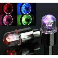 Wholesale Led Light Valve Caps Colorful - New Colorful Bike Bicycle Car Wheel Tire Valve Cap Flash LED Lights Lamp Novelty Bicycle Wheel Accessories