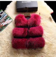 Wholesale Ladies Vests For Sale - Wholesale-Free Shipping Hot Sale Retail wholesale Gilet waistcoat Fashion Women Real Raccoon Fur Vest For Lady Natural Color Female Stock