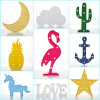 Wholesale 3d Alphabet - Ins hot 3D night lights home decoration flamingo cactus pineapple alphabet shape bedside led lamp night lights