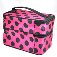 Wholesale Retro Toiletry Bag - Vsen Retro Dot Beauty Make Up Case Makeup Large Fashion Cosmetic Set Toiletry Bag Womens Protable Cosmetic Bag