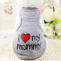 Wholesale Mom Vest - Summer Pet Vest I love My Mom Solid Color Dog Clothing Cute Creative Design English Letters Pets T Shirt 4 5gg C