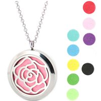 Wholesale Rose Aroma - Rose Flowers 316 Stainless Steel Necklace Pendant Aroma 30mm Locket Essential Diffuser Oils Lockets Free 50pcs Felt Pads As Gift