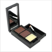Gros-2016 Hot Sale Professional Eye Shadow Eye Brow Maquillage 2 Couleur Sourcils Poudre + Sourcils Wax Palette + Brosse + Anglais Instruction