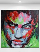 Wholesale Oil Paintings Picture - Death Stare Hand Painted Oil Painting On Canvas Palette Knife Figure Picture Pop Art Home Living Wall Decor