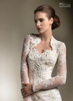 Wholesale Shawl Appliques - Bridal Wraps & Jackets Lace Applique Long Sleeves Bolero Jacket Shawl Coats Bridal Accessories Wedding & Events 2015 high quality cheap new