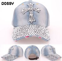 Wholesale Wholesale Denim Hats - Quality Rhinestone Bling Cross Hats Washed Denim Adjustable Baseball Caps Fancy Curved Hat Adults Womens Summer Designer Skull Caps