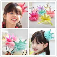Wholesale Girls Flower Clips - Girl Hair Clips Childrens Accessories Kid Princess Flower Hair Bows 2015 Korean Crown Barrettes Baby Hair Accessories Girls Hairbows C11099