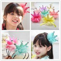 prenses taç yayı toptan satış-Kız Saç Klipler Çocuk Aksesuarları Çocuk Prenses Çiçek Saç Yaylar 2018 Kore Taç Tokalarım Bebek Saç Aksesuarları Kızlar Hairbows C11099