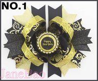 altın saç yayları toptan satış-Ücretsiz kargo 30 adet Yeni Yıl saç Yay Mutlu Yeni Yıl saç klipleri kız saç aksesuarları Tatil yay pembe altın siyah ve altın ve gümüş yaylar