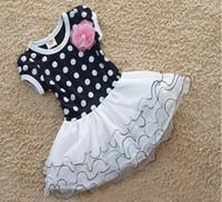 Wholesale Cheap Dancewear Dresses - Summer Dress Girls short sleeve Polka Dot Flower Dress Cheap Fashion Korea Children's Dancewear Princess Party Dresses Tutu Skirt