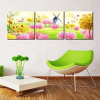 painted mailboxes - 3 Pieces No frame on Canvas Prints Cartoon flower Daisy Chrysanthemum windmill butterfly Sunflower tree mailbox Lotus tulips