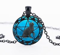 Wholesale Wholesale Black Cat Pendants - Black Cat pendant wiccan Necklace collar Wicca Pentagram blue Glass pendant cristal colgante Wicca collar CN1002