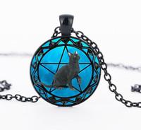 siyah cam kolye toptan satış-Siyah Kedi kolye wiccan Kolye yaka Wicca Pentagram mavi Cam kolye cristal colgante Wicca yaka CN1002