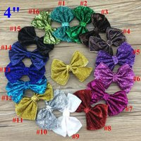 Wholesale Glitter Sequin Hair Bows - New style 4inch glitter girls hair bow WITH CLIP,sequin hairbows for kids,hot selling 32pcs lot free shipping