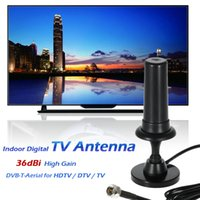 Wholesale 36dbi Antenna - W36 Indoor Digital TV Antenna 36dBi High Gain Full HD 1080p VHF   UHF DVB-T-Aerial F Male Connector for HDTV   DTV   TV V1901