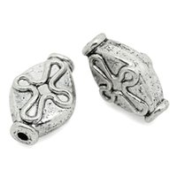 "Wholesale Rhombus Beads Free Shipping - 2015 New 100PCs Metal Beads Rhombus Cross Carved Silver Tone 12mm x 8mm( 4 8""x 3 8"") Free Shipping"
