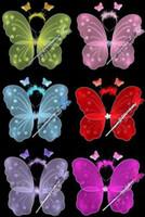 ingrosso ali libere di fata-SPEDIZIONE GRATUITA Set di ali di farfalle (ala, fascia per capelli, bacchetta magica) / ali d'angelo / accessori per feste 6colours 10s