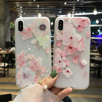Wholesale girl 3d painting - For iPhone X Cartoon Painting Case 3D Relief Flowers Matte Frosted Slim Silicone Soft Shockproof Cute Girl Cover For iPhone 8 7 Plus 6 6S