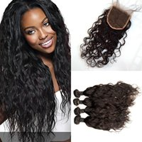 Wholesale unprocessed mongolian water wave closure resale online - Lace Closure With Bundles Unprocessed Human Hair Extensions Malaysian Water Wave Hair With Closure G EASY