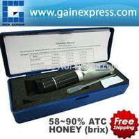 refractómetro de mano al por mayor-Al por mayor-Nuevo diseño Handy Portable 58-90% Brix miel mano Refractómetro Baume apicultura abejas con ATC + perilla de calibración incorporada