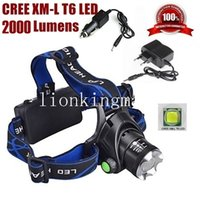 Wholesale Cree Led Headlight Headlamp - AloneFire HP79 CREE XM-L T6 LED 2000Lumens zoom Rechargeable Headlight LED Headlamp CREE For 18650 + car charger,AC Charger