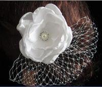 örtü klipsleri toptan satış-10PX Beyaz Peçe Balık Net Çiçek Saç Klip Saç Pin ile Kristal Inci Rhinstone düğün Gelin Gelinlik Parti