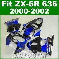 zx6r plásticos azul venda por atacado-Frete grátis kit de carenagem para kawasaki ZX-6R 636 00 01 02 carenagens de plástico azul preto definir ZX636 ZX6R 2000 2001 2002 JK2