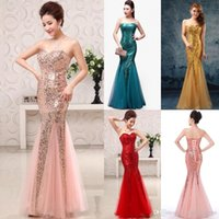 Wholesale Keyhole Strapless Prom Dresses - 2016 New Chic Pink Blue Long Prom Dresses Sleeveless Sequins Tulle Lace Up Evening Gowns Keyhole Backless Pageant Dress Celebrity CPS227