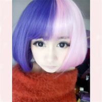 Wholesale Anime Wigs Purple - Pear wig hair new girl short multi-color anime cosplay ombre pink purple wig women cheap bob wigs synthetic wigs head bangs 35cm