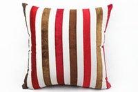 Wholesale Cotton Velveteen Wholesale - Wholesale-Stripe Pillowcase Cushion Home Nap pillow Throw Pillow Case Cotton Velveteen Linen Almofada W2