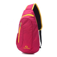 Wholesale pink sling bag for sale - Group buy Casual sport women chest bag contrast color waterproof outdoor travel girl sling pack shoulder unbalanced crossbody nylon bag