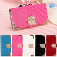Wholesale Hand For Case S3 - Luxury Rhinestone Diamond Bling Hand Bag For iPhone6 6Plus 5S 4S Samsung S5 S4 S3 NOTE4 3 2 PU Leather Flip Cover Case Wallet For Iphone6 C