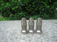 dabs için evrensel çiviler toptan satış-Evrensel Kubbesiz Titanyum Tırnak 14.4mm 18.8mm Çift Fonksiyonlu GR2 Wax Yağ nargile sigara cam fıskiye su boruları bong bongs kül dab kuleleri